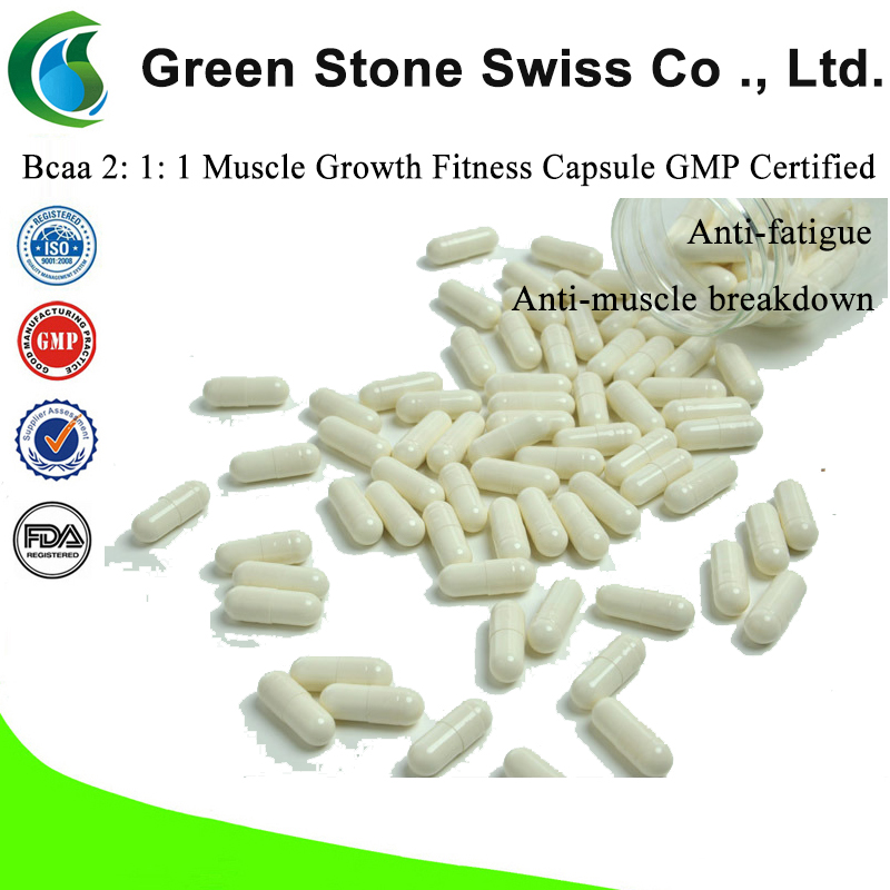 Bcaa 2: 1: 1 Muscle Growth Fitness Capsule GMP Certified